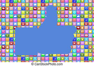 Application Apps App like social media network on mobile or smart phone
