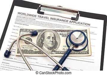 application, assurance voyage, espèces
