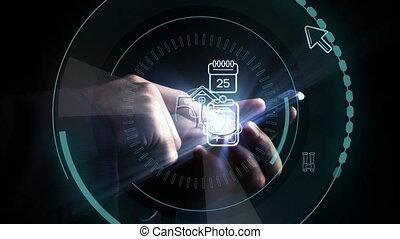 application, cercles, icônes, homme, futuriste, téléphone, mobile, 5g, utilisation, écrit, milieu