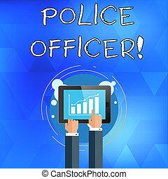 application, concept, police, pointage, toucher, texte, diagramme, screen., ecriture homme affaires, officer., signification, smartphone, officier, démontrer, équipe, barre, ligne, main, écriture, droit & loi