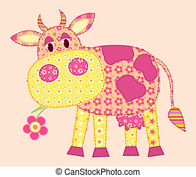 Application cow. Patchwork series. Vector illustration.