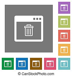 Application delete square flat icons