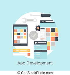 Abstract flat vector illustration of application development concepts. Design elements for mobile and web applications.