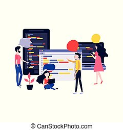 Application development vector illustration with IT specialists team discussing and programming app.