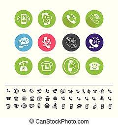 application, différent, ensemble, icônes, backrgound, site, ton, téléphone, blanc, ou