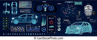 Application Elements for Car, Futuristic style (HUD)