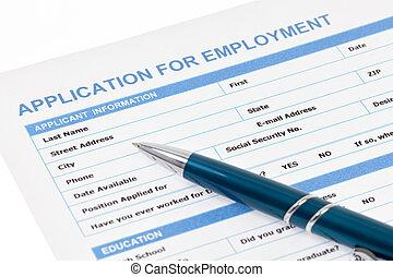 application, emploi, formulaire
