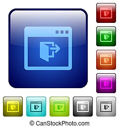 Application exit color square buttons