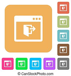 Application exit rounded square flat icons