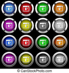Application exit white icons in round glossy buttons on black background