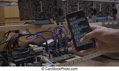 application, exploitation minière, sien, utilisation, regarder, crypto, monnaie, smartphone, connecté, progrès, derrick, programmeur, logiciel, ingénieur
