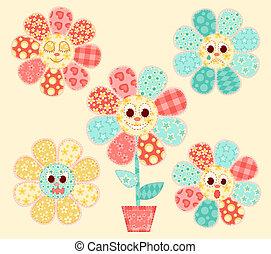 Application flowers set. Patchwork series. Vector illustration.