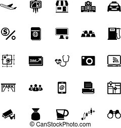 application, fond blanc, icônes