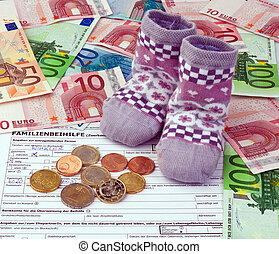 children's socks and euro notes.