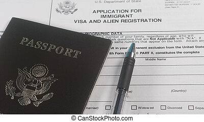Application for immigrant visa form and US passport