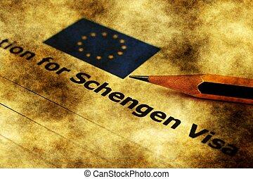 Application for Schengen visa grunge concept