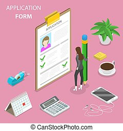 Application form flat isometric vector concept.