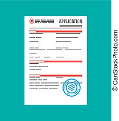 Application form paper blank with seal