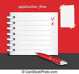 Application form template. Vector illustration