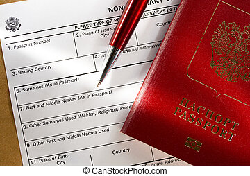 Application form with passport and pen