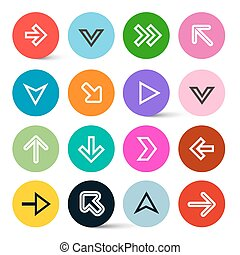 Application Icons - Arrows in Colorful Circles Set