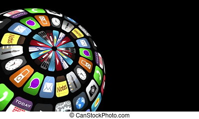 Application icons floating in a sphere shape and becoming...