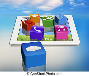 application icons on digital tablet with cloud app