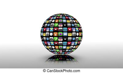 Application icons spinning in a black sphere on grey and...