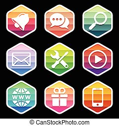 Application Icons trendy Design on black. Vector