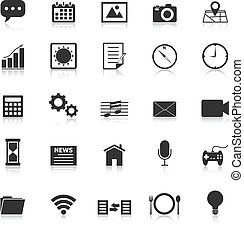 Application icons with reflect on white background