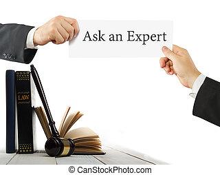 application, juges, tenue, expert, bois, texte, mains, business, demander, livre, salle audience, avocat, bureau., marteau, table, droit & loi, ou, carte