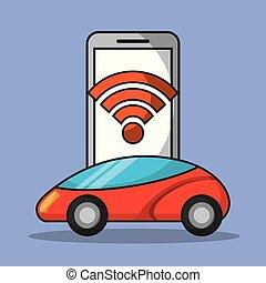 application, mobile, voiture, wifi, téléphone, connexion, autonome