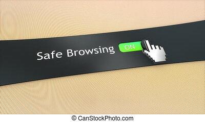 application, monture, browsing., sûr