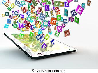 application, nuage, pc, tablette, icônes