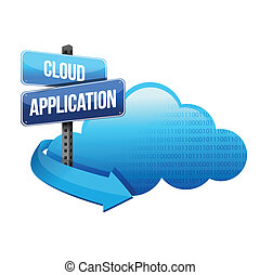 application, nuage, route, illustration, signe