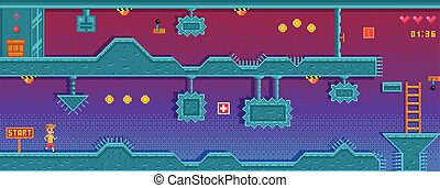 application., obstruction., plano de fondo, pixel, diferente, platformer, juego