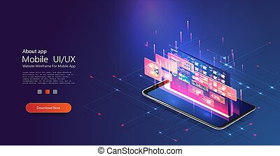 Application of smartphone with business graph and analytics data on isometric phone . Analysis trends and financial strategy by using infographic chart.