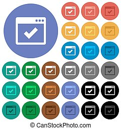 Application ok round flat multi colored icons