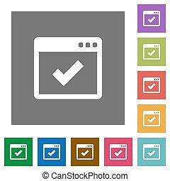 Application ok square flat icons