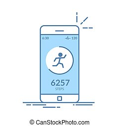 Application on the mobile phone to track the steps, the pedometer. App for morning jogging or fitness. The concept of the interface design of the apps. Isolated thin line illustration.