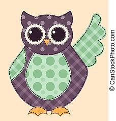 Application owl 1 - Application owl. Cartoon patchwork...