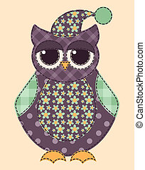 Application owl. Cartoon patchwork illustration for a scrapbooking. Vector.