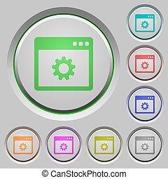 application, paramètres, poussée boutonne