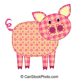 Application pig isolated on white. Patchwork series. Vector illustration.