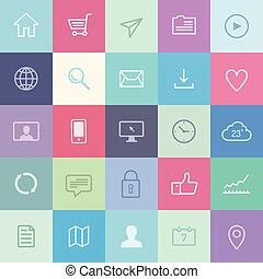 application, plat, ensemble, icônes