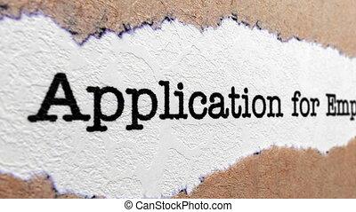 application, pour, emploi