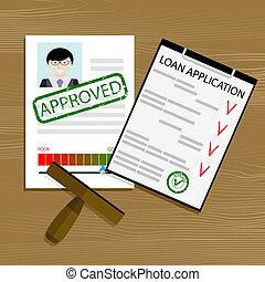 application, prêt, approuvé