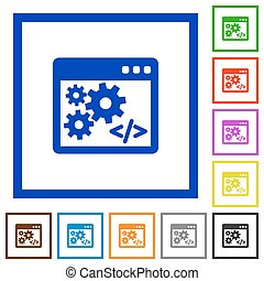Application programming interface framed flat icons