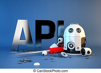 Application programming interface sign. Technology concept