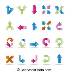 Application, Programming, Server and computer icons - Arrows - vector Icon Set 3
